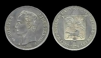 Coins of the Venezuelan venezolano - 5 centaves of Venezolano coin