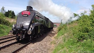 LNER Class A4 4488 Union of South Africa - Union of South Africa passes Condover