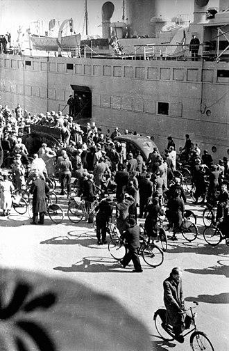 German invasion of Denmark (1940) - Hansestadt Danzig unloads in Copenhagen Harbour