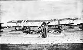 91st Aero Squadron - Salmson 2A2 aircraft of the 91st Aero Squadron damaged by antiaircraft fire. Note the tattered underside of the wing fabric
