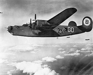 93d Operations Group - 328th Bomb Squadron Consolidated B-24J-55-CO Liberator Serial 42-99949 on a mission to Friedrichshafen Germany during August 1944. This aircraft was lost over Belgium on 21 September 1944, MACR 9662