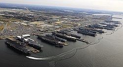 9 Flattops at Norfolk naval base, December 20, 2012.jpg