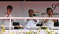 A. K. Antony, the Union Minister for Civil Aviation, Shri Ajit Singh and the Chief Minister, Karnataka, Shri Jagadish Shettar greeting the crowd at the inaugural ceremony of Aero India 2013, at Bangalore on February 06, 2013.jpg