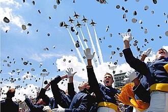 United States Air Force Academy - Air Force Academy cadets celebrate after graduation.