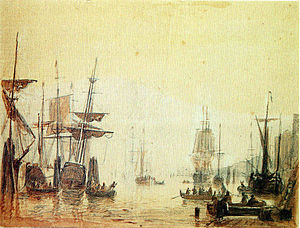 Adolph Friedrich Vollmer - Hamburg Harbour, 1840   Sepia over pencil, 21 x 26 cm