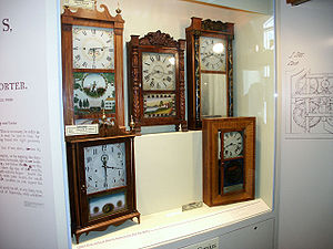 American Clock & Watch Museum - Display of Connecticut-made shelf clocks by various manufacturers.
