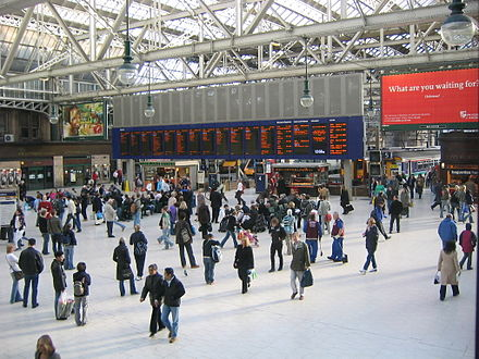 Glasgow Central station is the northern terminus of the West Coast Main Line. AM Glasgow Central.JPG