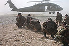 ANA soldiers preparing to board a Black Hawk helicopter in Khost Province of Afghanistan