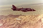 AV-8A Harrier of VMA-231 drops Rockeye bomb in 1979.jpg