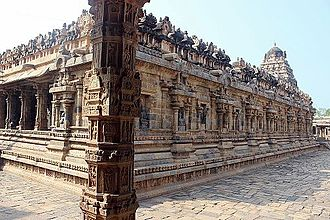 Great Living Chola Temples - A pillar in Dravidian architectural-style in Airavatesvara Temple.
