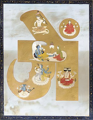 Tantras - A Hindu Tantric Painting. India, Pahari, circa 1780-1800. Depicting from top to bottom: Shiva, Sakti, Vishnu on his conch with Brahma sprouting from his navel and Lakshmi, Harihara, four-headed Brahma, and the Trimurti below, painted against a gold ground forming the stylized seed syllable Ohm.