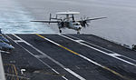A U.S. Navy E-2C Hawkeye aircraft assigned to Carrier Airborne Early Warning Squadron (VAW) 116 lands on the aircraft carrier USS Carl Vinson (CVN 70) in the Pacific Ocean Jan. 19, 2014 140119-N-TP834-029.jpg