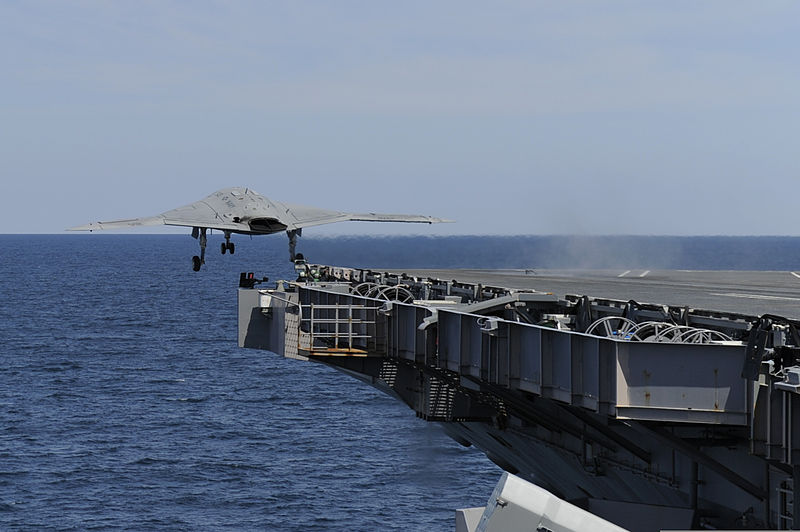 File:A U.S. Navy X-47B Unmanned Combat Air System demonstrator aircraft launches from the aircraft carrier USS George H.W. Bush (CVN 77) May 14, 2013, in the Atlantic Ocean 130514-N-ZZ999-005.jpg