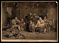 A blind fiddler plays to a family audience. Coloured engravi Wellcome V0016253.jpg