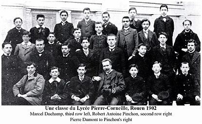A class at the Lycée Pierre-Corneille, Rouen 1902, Robert Antoine Pinchon and Marcel Duchamp.jpg