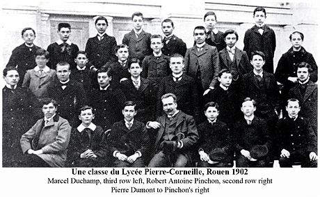 A class at the Lycee Pierre-Corneille, Rouen 1902, artists Robert Antoine Pinchon (second row, right) and Marcel Duchamp (third row, left) A class at the Lycee Pierre-Corneille, Rouen 1902, Robert Antoine Pinchon and Marcel Duchamp.jpg