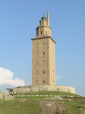 History of lighthouses - Tower of Hercules, a Roman lighthouse at A Coruña modelled on the Pharos
