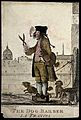 A dog barber holding a large pair of shears in one hand, a p Wellcome V0021888ER.jpg