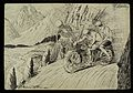 A man and a woman riding a motorbicycle on a mountain pass Wellcome L0034924.jpg