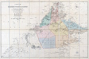 Sabah - Map of British North Borneo by Edward Stanford in 1888, kept by the United States Library of Congress.
