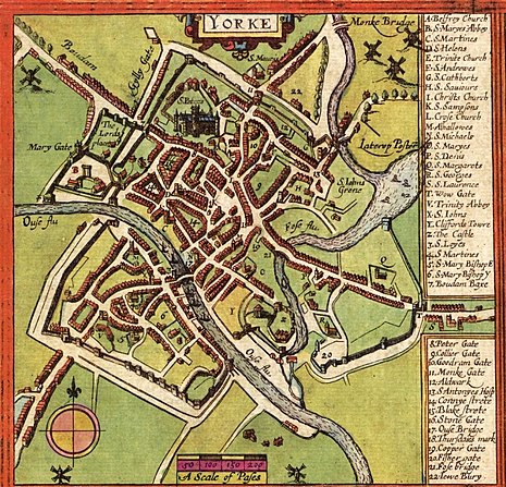A map of York from 1611 by John Speed A map of York england.jpg