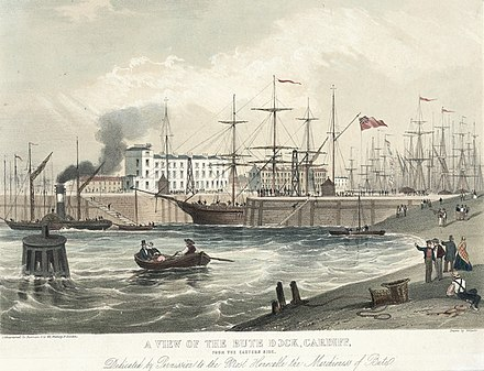 Jubilee dock, Cardiff, from the eastern side (1849) A view of the jubilee dock, Cardiff, from the eastern side.jpeg