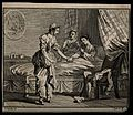 A young woman takes the hand of a sick man, while an older w Wellcome V0015117.jpg