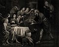 Abraham gives food to his three strange guests. Aquatint by Wellcome V0034448.jpg