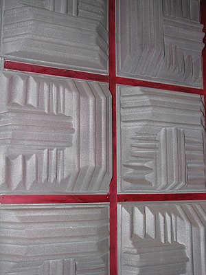 Sound baffle - Sound baffles on the wall of a recording studio