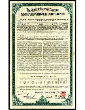 World War Adjusted Compensation Act - Adjusted Service Certificate