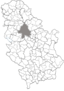 Belgrade's location within Serbia