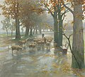 Adolf Kaufmann - Flock of Sheep with Shepherdess on a Rainy Day.jpg
