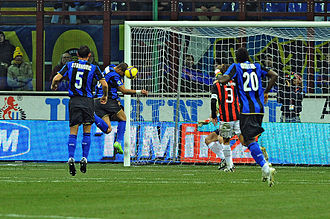 Adriano (footballer, born 1982) - Adriano heading a goal in a Milan derby on 15 February 2009