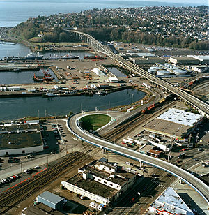 Magnolia Bridge - Image: Aerial view of Magnolia Bridge, Seattle, 2002