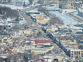 West Bend, Wisconsin - Aerial view of downtown