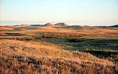 Prärie mit den Hügeln aus dem Miozän