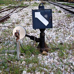 Greek railway signalling - A points operation lever and indicator (Signal 31)