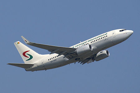 A jet of the national airline, Air Senegal International. Air Senegal International B737 6V-AHU.jpg