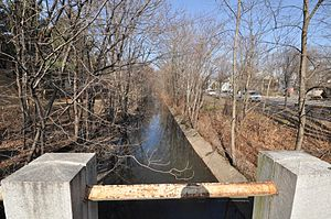 Alewife Brook Reservation - The heavily channelized Alewife Brook as seen from the northeast side of the Massachusetts Avenue bridge