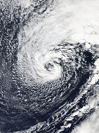 Extratropical cyclone - A hurricane-force extratropical cyclone in January 2016 with a distinct eye-like feature, caused by a warm seclusion