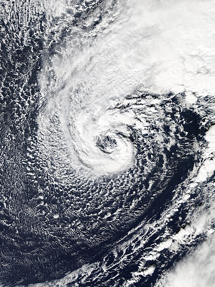 A hurricane-force extratropical cyclone in January 2016 with a distinct eye-like feature, caused by a warm seclusion Alex 2016-01-10 1635Z.jpg