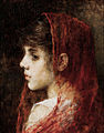 Alexei Harlamov - Portrait of a young girl with a red veil.jpg