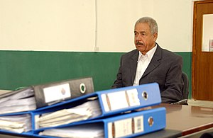 "Halabja chemical attack - Ali Hassan al-Majid ""Chemical Ali"" during an investigative hearing in 2004"