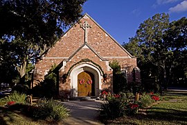 All Saints Episcopal Church - front of church - Christmas 2008.jpg