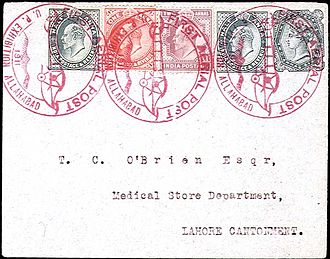 First flight cover - Allahabad cover flown on the world's first aerial post in 1911