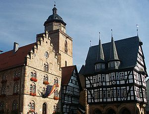 Alsfeld - Town Hall, Weinhaus, oldest timber-framed building and Walpurgiskirche