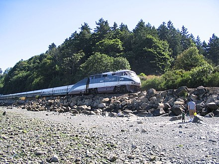 Talgo equipment on the state-funded Amtrak Cascades in 2006. Amtrak partnerships with state governments grew throughout the early 2000s Amtrak Cascades 2006.jpg