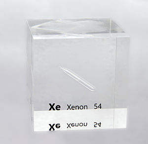 Xenon - An acrylic cube specially prepared for element collectors containing liquefied xenon