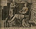 An old man discourses with a woman with a bird on her head; Wellcome V0007498.jpg