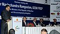 Anand Sharma addressing at the Business Meeting, organised by the CII, FICCI and ASSOCHAM, in New Delhi on February 08, 2012. The Prime Minister of Mauritius, Dr. Navinchandra Ramgoolam is also seen.jpg